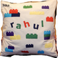 Lego inspired cushion personalised with a child's name