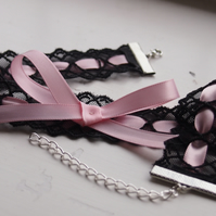 Light Pink Ribbon and Lace Choker