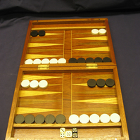 Handmade Oak and Sapele Wood Backgammon Set.- PRICE REDUCED
