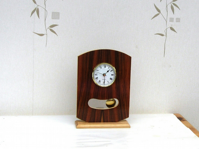 Handmade Wood  Freestanding Art Deco Style Pendulum Clock with Quartz Movement