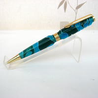 Hand Made Blue and Green Acrylic Ball Point Pen with a Velvet Pouch