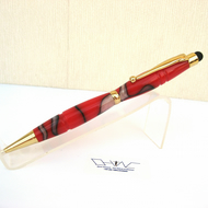 Hand Made Red Acrylic Ball Point Stylus Pen with Velvet Pouch