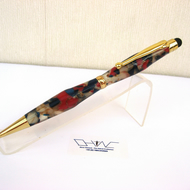 Multi Coloured Acrylic Ball Point Stylus Pen with Velvet Pouch. Hand Made