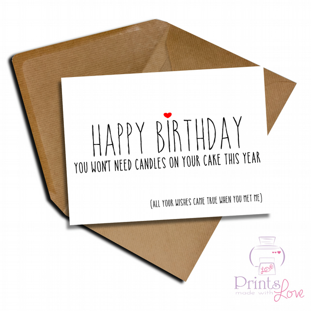 Cheeky Funny Birthday Card Boyfriend Girlfriend Folksy