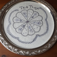 AFTERNOON tea tray original embroidery set in a glass tray