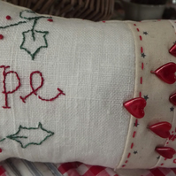 Hand embroidery Large sewing room pin cushion Hope  primitive  red work