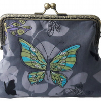 Grey and Turquoise Butterfly Fabric Bronze Clasp Clutch Evening Bag