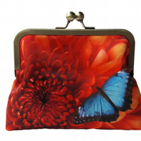 Orange Chrysanthemum Flower Floral and Blue Butterfly Satin Clutch Evening Bag