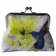 White Chrysanthemum Flower Floral and Hummingbird Satin Clutch Evening Bag