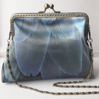 Blue Feathers Clutch Bag