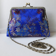 Blue and Gold Oriental Floral Clutch Bag
