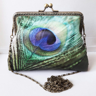 Peacock Feather  Clutch Bag