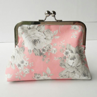 Vintage Style Grey Roses and Pink Fabric Silver Clasp Clutch Evening Bag