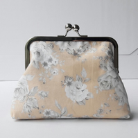 Vintage Style Grey Roses and Peach Fabric Silver Clasp Clutch Evening Bag