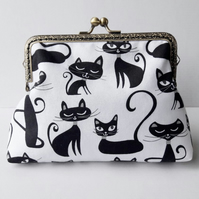 Black and White Cats Fabric Bronze Clasp Clutch Evening Bag