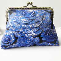 Blue and Silver Roses Floral Clutch Bag