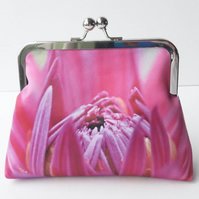 Pink Dahlia Flower Floral Satin Silver Clasp Clutch Evening Bag