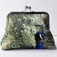 Blue Peacock Feather Clutch Bag