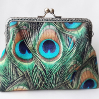 Green Peacock Feather Fabric Bronze Clasp Clutch Evening Bag
