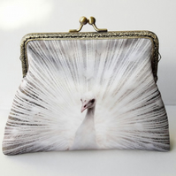 White Peacock Feather Clutch Bag