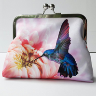 Pink Chrysanthemum Flower Floral and Hummingbird Satin Clutch Evening Bag