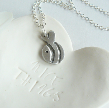 Handmade Fine Silver Bee Pendant Necklace