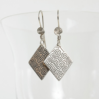 Etched Silver Lozenge-Shaped Earrings with Spiral