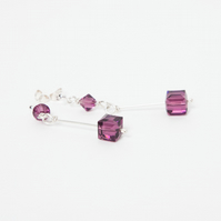 Silver Drop Earrings with Swarovski Crystal Amethyst Cubes