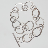 Hammered Silver Chain Bracelet - Broad Oval and Small Round Rings