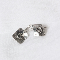 Textured, Domed & Oxidised Silver Earrings with Spiral SOLD