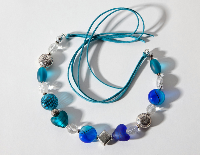 Turquoise, Blue & Silver Chunky Tied Statement Necklace