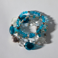 Aqua Stretch Stacking Bracelet