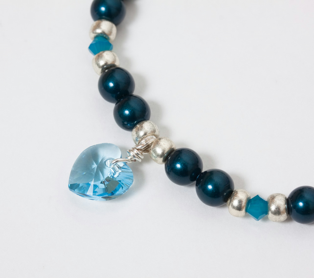 Petrol & Aqua Stretch Bracelet with Swarovski Pearls & Heart