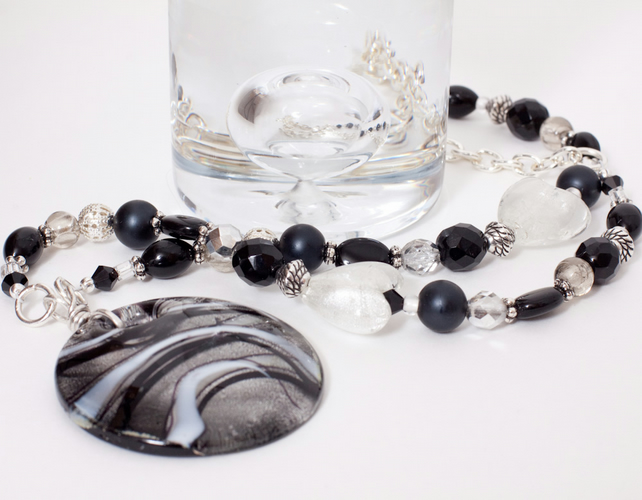 Black & Silver Cascade Necklace with Large Pendant