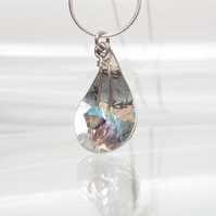 Silver Textured Teardrop Pendant with Swarovski Crystal Charm SOLD