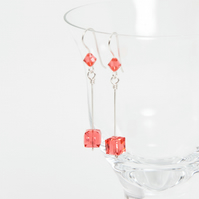 Silver Drop Earrings with Swarovski® Crystal Padparadscha Cubes