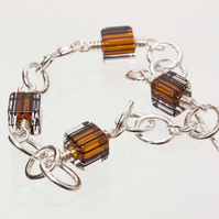 Hammered Silver Chain Bracelet with David Christensen Auburn Cube Beads SOLD