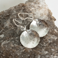 Silver Dangle Earrings, Hammered & Domed Discs, Swarovski Crystals SOLD
