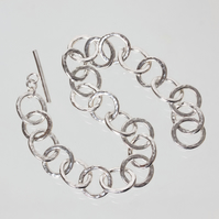 Hammered Silver Chain Bracelet - Small Oval and Round Links SOLD