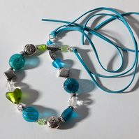 Lagoon Tied Chunky Statement Bead Choker Necklace SOLD
