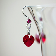 Silver Dangle Earrings with Red Swarovski Hearts & Crystals SOLD