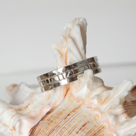 Set of three square-profile textured silver stacking rings SOLD
