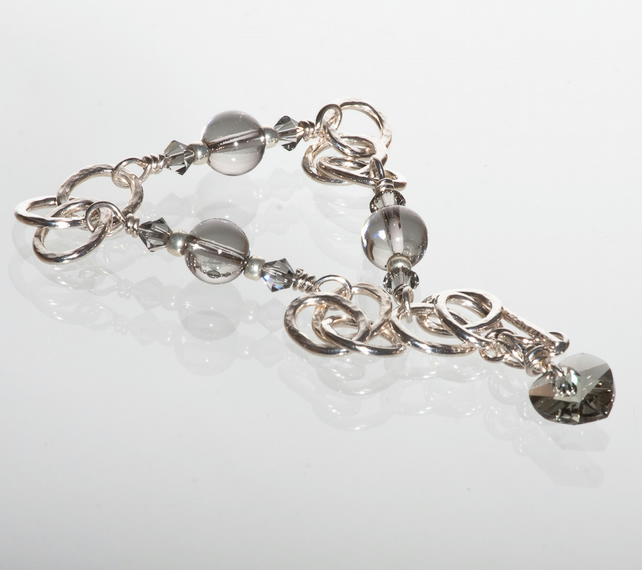 Silver Hammered Chain Bracelet with Swarovski Crystals and Heart Charm