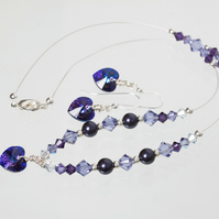 Purple & Silver Illusion Necklace & Earrings with Swarovski Crystals & Pearls