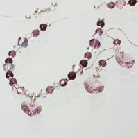 Amethyst Silver Illusion Necklace & Earrings, Swarovski Crystal, Pearls & Hearts