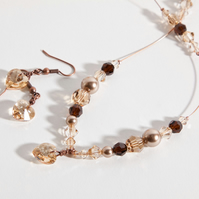 Espresso Illusion Necklace & Earrings with Swarovski Crystals, Pearls & Hearts