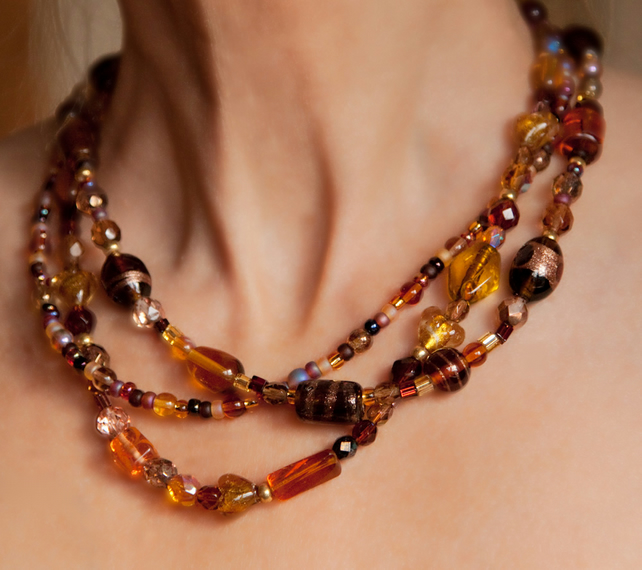 Three-Strand Glass Bead Necklace in Bronze & Amber Colours