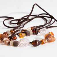 Brown Tied Chunky Statement Bead Choker Necklace