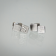 Silver Double-Square Stud Earrings Etched with Geometric Pattern
