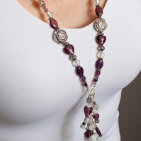 Cascade Charm Necklace in Amethyst & Silver SOLD